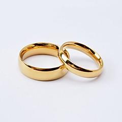 billige Motering-Dame Parringer Band Ring - Titanium Stål, Gullbelagt Kjærlighed Enkel Stil, Mote 5 / 6 / 7 / 8 / 9 Svart / Gylden Til Bryllup jubileum Engasjement