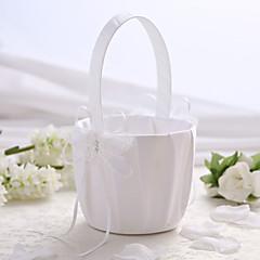 bianco da sposa in raso cesto di fiori con il disegno farfalla fiore ragazza cesto
