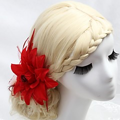Women's Flower Girl's Feather Fabric Headpiece-Wedding Special Occasion Outdoor Hair Combs Flowers
