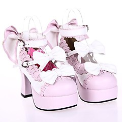 cheap Lolita Footwear-Lolita Shoes Sweet Lolita Dress Princess High Heel Shoes Bowknot 7.5 CM White Pink For PU Leather/Polyurethane Leather