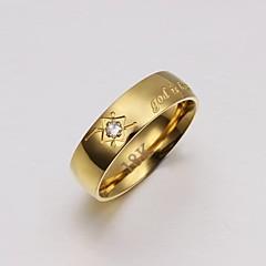 Herre Båndringe Luksus Smykker kostyme smykker Krystall Titanium Stål Gullbelagt Smykker Til Bryllup Fest Daglig Avslappet