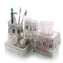 olcso -7 részes fürdőszobai kollekció készlet gyanta anyaga ezüst színű, fürdő együttes, fürdő tartozék készlet