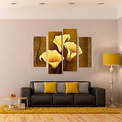 お買い得  壁飾り-キャンバス地プリント 抽象画 ファンタジー 植物の 4枚 縦式 プリント 壁の装飾 ホームデコレーション