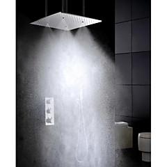 """Kortárs Zuhany """"eső""""szórófej Kézi zuhanyzót tartalmaz Termosztatikus with  Réz szelep Három fogantyúk öt lyuk for  Króm , Zuhany csaptelep"""