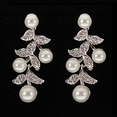 sølv platina plating blader med perler øredobber