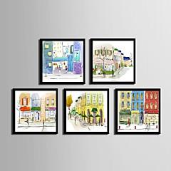 billige Innrammet kunst-Innrammet Lerret / Innrammet Sett - Arkitektur PVC Tegning