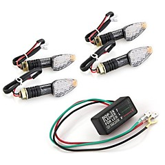 4 Pcs 10 LED Amber Motorcycle Turn Signal Indicator Light Blinker + Flasher Relay