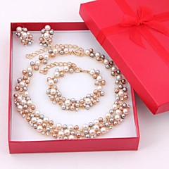 cheap Jewelry Sets-Women's Multicolor Pearl Jewelry Set - Pearl, Rhinestone, Gold Plated Ladies, Elegant, Bridal Include Drop Earrings Strand Bracelet Pearl Necklace Golden For Wedding Party Special Occasion