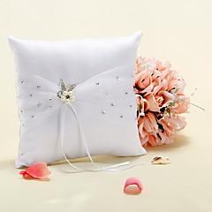 זול טכס חתונה-כרית טבעת בסאטן הלבן עם פרח פנינה מלאכותי ויהלומים מלאכותיים