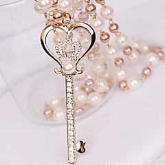 女性の小さなダイヤモンドの王冠キー真珠の愛のネックレス