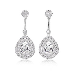 Fashion Classic Teardrop Long Dangle Earrings Filled With Sparkling Tiny CZ Diamond Drop EarringsImitation Diamond Birthstone