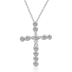 Men's Women's Pendant Necklaces Imitation Diamond Cross Silver Plated Cross Jewelry For Wedding Party Special Occasion Anniversary