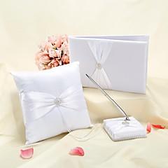 svatební sady s kroužkem polštář pero set kniha hostů bílá
