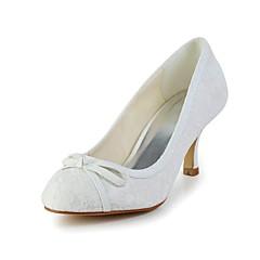 DamenHochzeit-Spitze-Stöckelabsatz-Absätze-Elfenbein / Weiß