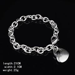 Fashion Sterling Silver Plated Heart Shaped Dangle  Women's Bracelet