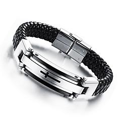 Муж. Кожаные браслеты Хип-хоп По заказу покупателя бижутерия Кожа Титановая сталь Позолота Крестообразной формы Бижутерия Назначение