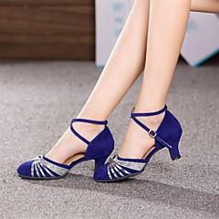 Mulheres Sapatos de Dança Moderna / Dança de Salão Camurça Salto Lantejoulas Salto Cubano Não Personalizável Sapatos de Dança Prateado / Dourado