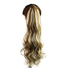 ieftine Peruci & Extensii de Păr-Ondulat Coadă de cal Sintetic Fir de păr Extensie de păr Blond Auriu Zilnic