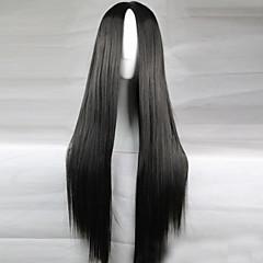 tanie Peruki syntetyczne-Peruki syntetyczne Gęstość Damskie Czarny czarna peruka Długo Włosy syntetyczne
