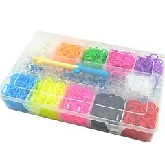 diy twistz bandz Gummi-Armbänder Kits Regenbogenfarben-Webmaschine Stil mit Aufbewahrungskoffer (10 Farben und 3000pcs Bands