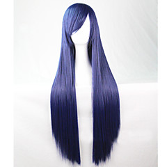 cheap Wigs & Hair Pieces-Synthetic Wig Women's Straight Blue Asymmetrical Synthetic Hair 28 inch Natural Hairline Blue Wig Long Capless Dark Blue