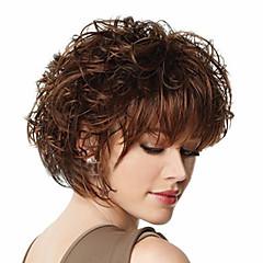 billiga Peruker och hårförlängning-Syntetiska peruker Syntetiskt hår Brun Peruk Dam Korta Kostym Peruk / Halloween Paryk / Karneval peruk Dagligen