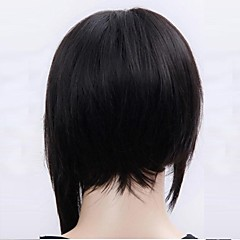 cheap Wigs & Hair Pieces-Synthetic Wig Women's Straight Black Bob Synthetic Hair 4 inch Natural Hairline Black Wig Short Capless Jet Black