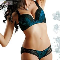 billige BH'er-Kvinner En sensasjonell touch Sett med truse og BH BH med bøyler Fôret BH Blonde-BH Dytt opp 5/8-kopp - Ensfarget