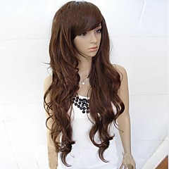 cheap Wigs & Hair Pieces-Synthetic Wig Women's Curly / Wavy / Loose Wave Black Asymmetrical / With Bangs Synthetic Hair 25 inch Natural Hairline Black / Dark Brown Wig Long Capless Darkest Brown Dark Brown Dark Auburn