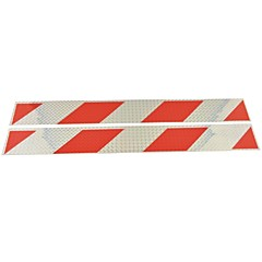 autó teherautó univerzális paralelogramma típusú fényvisszaverő matrica (2db) - ezüst&piros