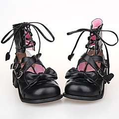 Lolita Shoes Sweet Lolita Lace-up Platform Shoes Bowknot 2.5 CM Black For PU Leather/Polyurethane Leather