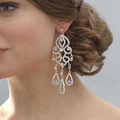 Dråpe Øreringer Sølv/Perle Earring Dame Rhinestone
