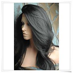billiga Peruker och hårförlängning-Syntetiska peruker Naturligt vågigt Syntetiskt hår Peruk Spetsfront Svart