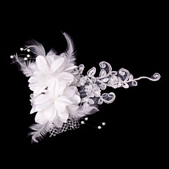 cheap Party Headpieces-Fashion Women Satin Flowers With Imitation Pearl Wedding/Party Headpiece