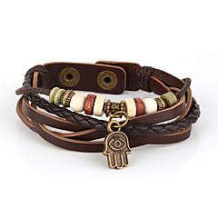 voordelige -Heren Sierstenen / Gelaagd Wikkelarmbanden / Lederen armbanden - Leder Vintage, Inspirerend, Meerlaags Armbanden Bruin Voor Kerstcadeaus / Dagelijks / Sport