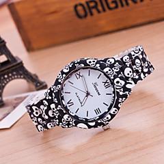 Women's Fashion Watch Quartz Plastic Band Skull Flower Multi-Colored Strap Watch