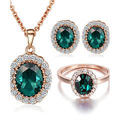 baratos Conjuntos de Bijuteria-Mulheres Cristal Esmeralda Sintética Conjunto de jóias - Cristal, Zircônia Cubica, Imitações de Diamante Incluir Conjuntos de anéis Para Casamento Festa Diário
