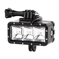 suptig 30m 3-modus LED vanntett video fill lys dykking lys satt for gopro hero4 / 3 + / 3/2 - svart