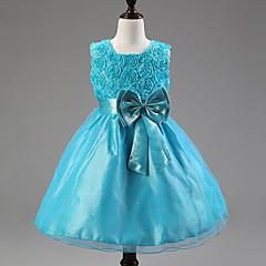 お買い得  女児 ドレス-子供 幼児 女の子 甘い パーティー ソリッド フラワー リボン ノースリーブ ドレス