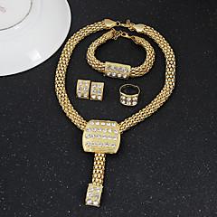 baratos Conjuntos de Bijuteria-Cristal Conjunto de jóias - Importante, Vintage, Festa Incluir Dourado Para Festa
