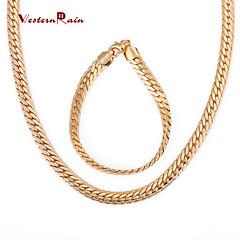 baratos Conjuntos de Bijuteria-Chunky Conjunto de jóias - Chapeado Dourado Vintage, Festa, Trabalho Incluir Dourado Para