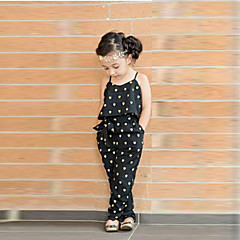 billige Tøjsæt til piger-Baby Pige Hjerte Trykt mønster Uden ærmer Overall og jumpsuit / Sød Stil