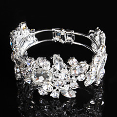 Women's Tennis Bracelet Rhinestone Silver Plated Bridal Silver Jewelry 1 pair