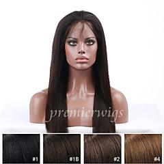 billiga Peruker och hårförlängning-Äkta hår Hel-spets / Spetsfront Peruk Kroppsvågor 130% Densitet Naturlig hårlinje / Afro-amerikansk peruk / 100 % handbundet Dam Mellan / Lång Äkta peruker med hätta