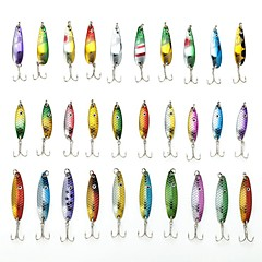 Fishing Lure Set 30pcs Spoon Metal Lure 3-6g with Hooks