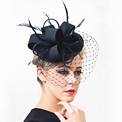 cheap Party Headpieces-Gemstone & Crystal Feather Satin Net Fascinators Headpiece with Crystal 1 Wedding Special Occasion Party / Evening Outdoor Headpiece