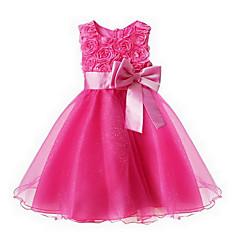 tanie Odzież dla dziewczynek-Brzdąc Dla dziewczynek Słodkie Impreza Żakard Kokarda Bez rękawów Sukienka