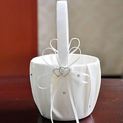 "cheap Flower Baskets-Flower Basket Satin 9"" (23 cm) Rhinestones Ribbons 1 Wedding Ceremony"