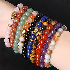 Beadia 1Pc Fashion 8mm Round Stone Elastic Strand Bracelet Gold Buddha Bracelet 10 Colors U-Pick