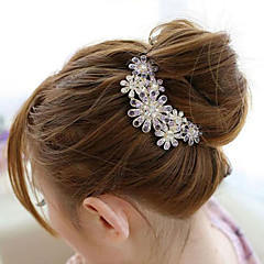cheap Wigs & Hair Pieces-south korea high grade ornaments in combs hair clasp diamond pearl twist purple flower